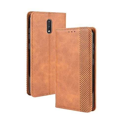 LAGUI Kompatible für Nokia 2.3 Hülle, Leder Flip Hülle Schutzhülle für Handy mit Kartenfach Stand & Magnet Funktion als Brieftasche, braun