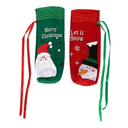 KHHGTYFYTFTY Botella de Vino Bolsas, Decoraciones de Navidad de Santa Claus muñeco de Nieve Vino Botella Bolsas de Navidad la decoración del Partido