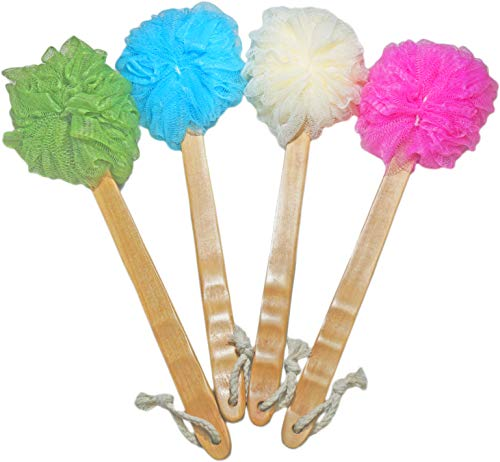 4 Pack Shower Loofah Body & Back Scrubber - Exfoliating Loofah luffa loofa Bath Brush On a Stick - With Long Wooden Handle Back Brush For Men & Women - Easy Reach Body Wash & Lotion Applicator