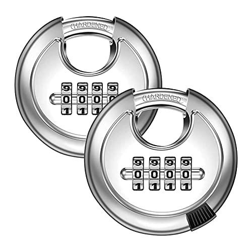 HDHUIXS Candado de disco de combinación de 4 dígitos (2 paquetes) con cerradura de puerta de acero endurecida de acero al aire libre para cobertizos, unidad de almacenamiento, garaje, cerca, l