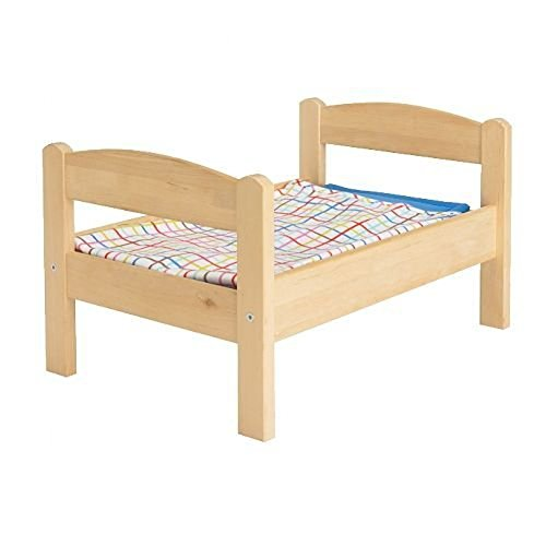 IKEA Duktig Doll Bed with Bedlinen Set, Pine, Multicolor