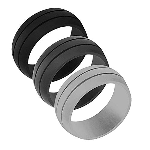 3 Pcs Mens Rubber Silicone Wedding Band Ring Gym Sport Jewelry - Size 10