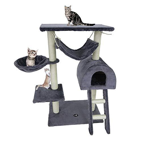 Todeco - Albero Per Gatti, Alberi Tiragraffi Per Gatti - Materiale: MDF - Dimensione casa per gatti: 35,1 x 35,1 x 24,9 cm - 100 cm, 5 piattaforme, Grigio