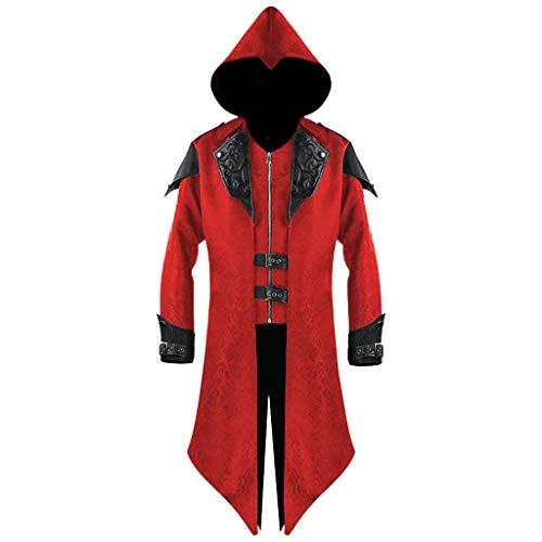 Mens Vintage Back Slit Tailcoat Gothic Steampunk Hooded Jacket Cosplay Medieval Renaissance Halloween Costume Hoodie Coat