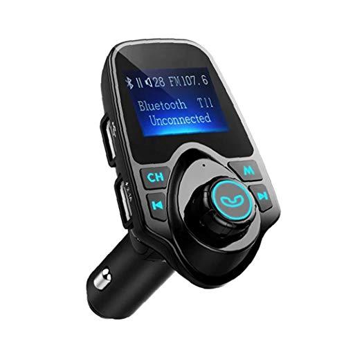 Transmisor FM para el Adaptador de Audio Bluetooth de Radio inalámbrica Coche con Llamando a Mano Libre de la Pantalla LCD del Reproductor de música del Cargador del Coche Negro, Que Carga el Coche
