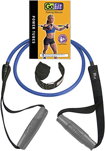 GoFit Resistance Power Tubes/Bands - Resistance Training Workout 10 lbs. - Blue