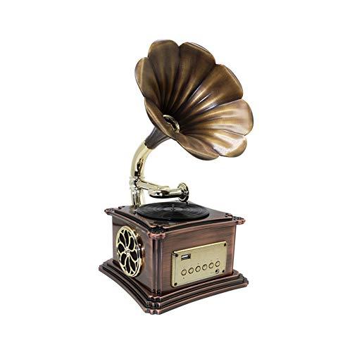 TITO Retro Bluetooth-Lautsprecher, Grammophon-Plattenspieler Retro-Plattenspieler mit drahtlosen Lautsprechern, CD-Player / 3,5-mm-Aux-In/FM-Radio/USB, Vintage-Phonograph (Bronze)