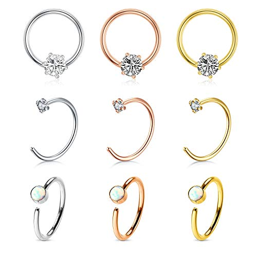 Stainless Steel Fake Nose Rings 20G 16G Septum Piercing CZ & Opal Inlaid Clip On Nose Piercing for Women Men 9PCS