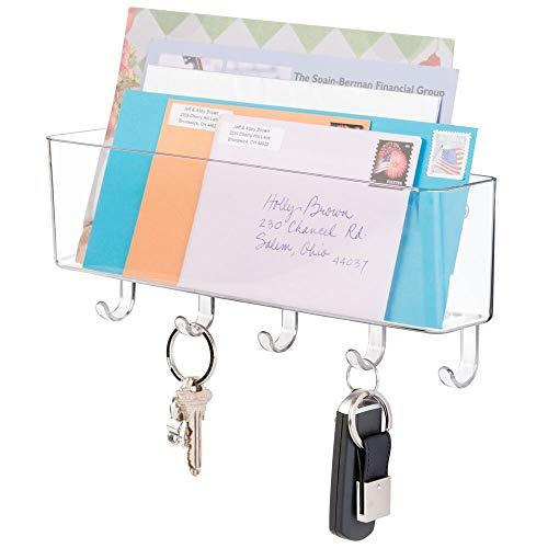 mDesign range courrier et boite à clés - pour le rangement de vos clefs, lettres et brochures - porte courrier mural pour l'entrée - transparent