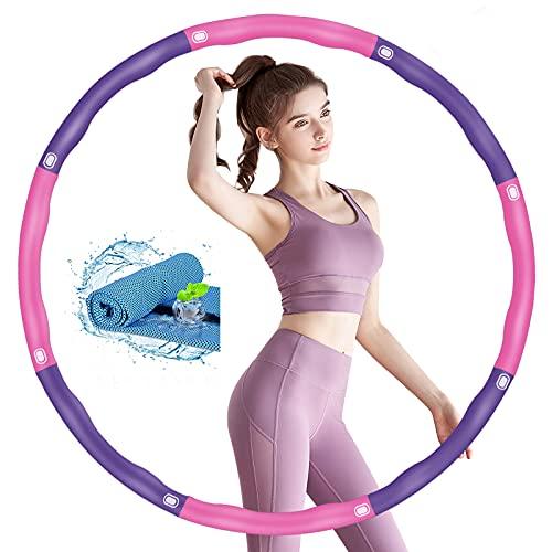 TvvaaFog 【Verbessern Fitness Hula Hoop Reifen für Erwachsene Fitness Exercise Hoop Reifen 6-8-Segmente Abnehmbarer Wellenmassage-Design Fitness/Sport/Bauchformung/Gewichtsreduktion (Rosa-Lila)