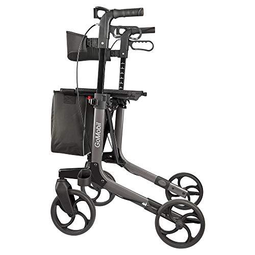 Trendmobil GoMobil Leichtgewichtrollator inkl. breitem Komfort-Rückengurt, Stockhalterung und Einkaufstasche - faltbarer Aluminium Rollator - Gewicht nur 7 kg