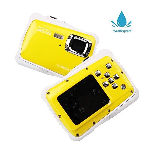 Smyidel Waterproof Mini Kid Camera High Definition 12MP HD 3M Underwater Swimming Digital Camera Camcorder 32G SD Card Flash 2.0 Inch LCD Display (Yellow)