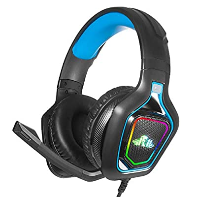 Rii Gaming Headset with Noise Cancelling compatible with Xbox One/PS4/PS5/PC/Laptop/MAC-Stereo Surround Lightweight Soft Earmuffs Headphone with 3.5MM Jack & Mic & LED Light (Blue) by Rii