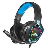Rii K10 Auriculares Gaming con Micrófono, Auriculares con Cable para PC, Auriculares Diadema con 3.5mm Jack con Luz L