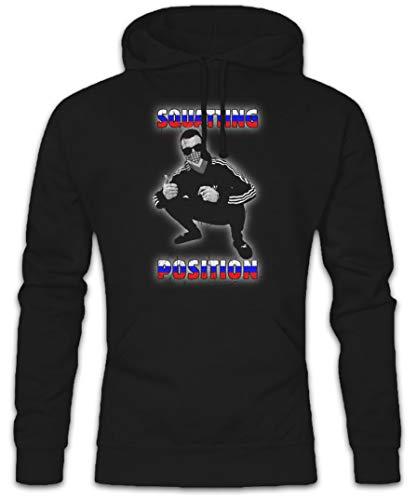 Urban Backwoods Russian Squatting Position Hoodie Kapuzenpullover Sweatshirt Schwarz Größe S