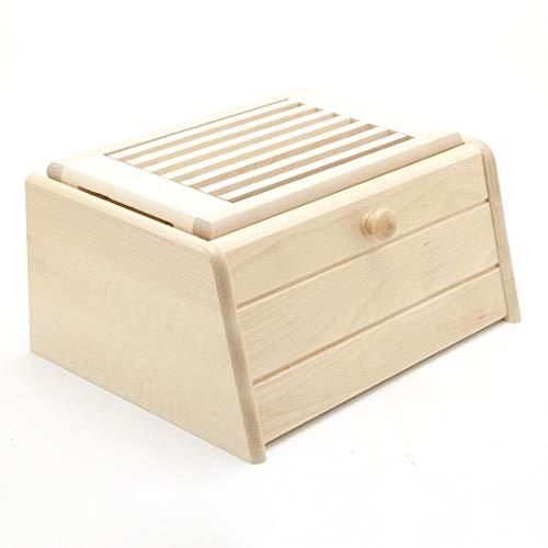 Holzfee Brotkasten mit Brotschneidbrett / Brotbox mit Brotschneidebrett