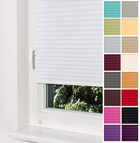 Home-Vision® Premium Plissee Faltrollo ohne Bohren mit Klemmträger / -fix (Weiß, B75cm x H120cm) Blickdicht Sonnenschutz Jalousie für Fenster & Tür