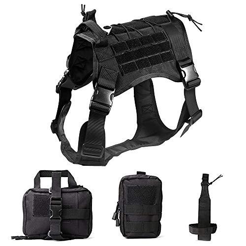 Imbracatura per cani tattica di servizio, imbracatura per addestramento del cane Imbracatura per animali domestici con sacchetti Molle e portabottiglie-Nero-XL