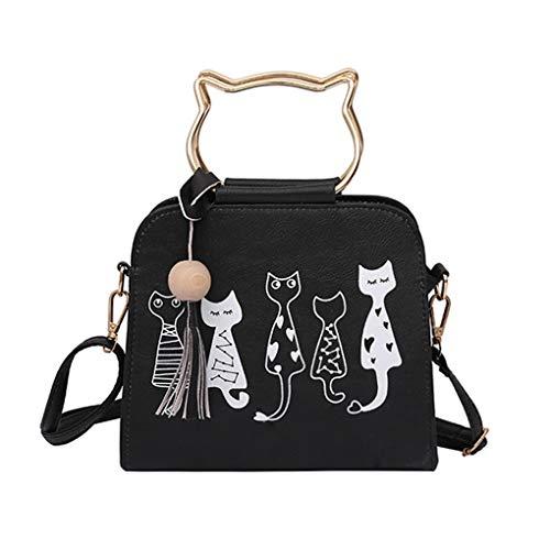 Dorical Handtasche Damen Katzen Muster Quaste Schulter Beutel Kunstleder Rucksack Umhängetasche für Mädchen/Crossbody Schultertasche Shopping Bag(Schwarz)