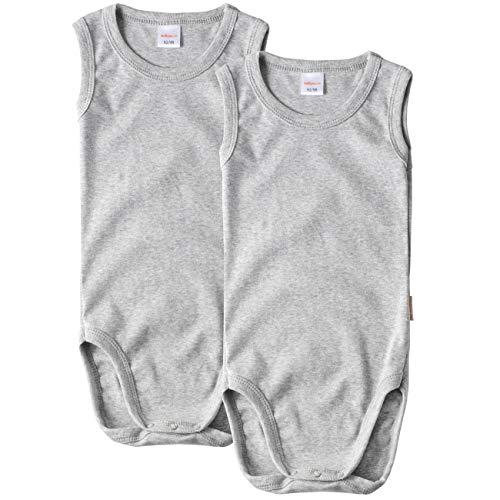 wellyou Body para bebé y niños, paquete doble, sin mangas, para niños y niñas, 100% algodón, juego de 2 unidades, tallas 92-134 Gris 104/110 cm