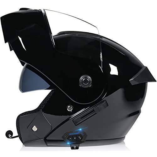 TKTTBD Casco Modular para Hombre Casco De Moto Modular Bluetooth con Visera Cascos De Moto Casco De Bicicleta Dorado Casco De Moto Modular Pequeño B,XL