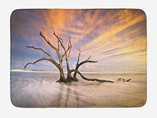 Alfombra de baño de madera flotante, tema marino, árbol muerto, madera flotante en el océano al atardecer, estampado de paisaje, alfombra de decoración de baño de felpa con respaldo antideslizante, be