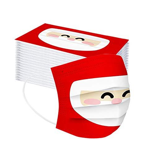 JMNy Erwachsener Mundschutz Multifunktionstuch, Einweg 3-lagig Santas großer weißer Bart Gedruckt Maske, Staubdicht Atmungsaktive Vlies Mund-und Nasenschutz Bandana Halstuch