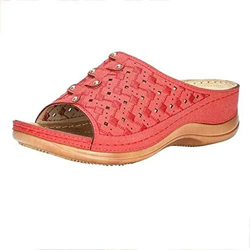 Mihoutao Zapatos cómodos con Sandalias de Plataforma, Sandalias correctoras de Cuero PU...