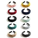 Kisslife 10 Pack Wide Headbands Knot Turban Headband Hair Band Elastic Plain Fashion Hair Accessories for Women and Girls, Children 10 Colors