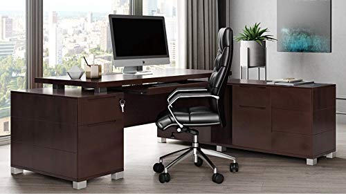 Dark Wood Finish Ford Executive Modern Desk with Filing Cabinets - Right Return