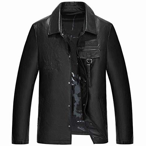 Chaquetas cuero para hombre,Abrigo corta corta corta corta corta corta Abrigo de piel de becerro casual de invierno,Black-XL