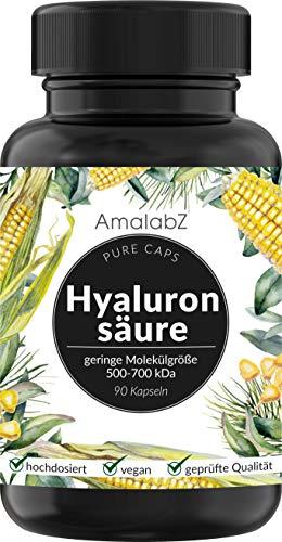 Hyaluronsäure Kapseln - Hochdosiert mit 500mg - 90 Kapseln - Laborgeprüft und hergestellt in Deutschland, vegan
