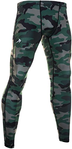 CompressionZ Men's Compression Pants Base Layer Running Tights Gym Leggings (Camo, M)