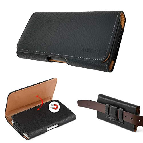 AIScell Belt Hip Leather Carrying Case, Black Faux Leather Pouch Belt Clip Holster 6.20 X 3.50 X 0.60 Inches,Compatible for Huawei Raven LTE H892L, with Hybrid Protective Case Armor Cover