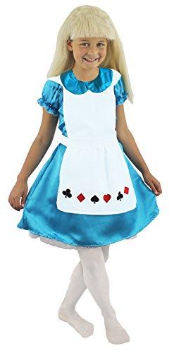 I LOVE FANCY DRESS LTD Déguisement pour Fille de la Petite Alice aux Pays Merveilleux avec Cette Robe Bleue foncée et Son Tablier Blanc. Ideal pour la fête de l'école.