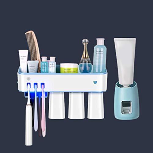 LDDLDG Sterilisator voor mobiele telefoon tandpasta houder aan de muur bevestigde tandpasta knijper set USB Powered- afneembaar