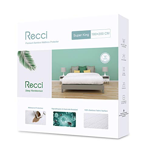 RECCI Premium Bamboo Mattress Protector - Super King Mattress Protector, 100% Bamboo Fabric Surface Mattress Cover, Waterproof Bed Cover, Anti Allergy, Bed Bug ProofSuper King Size - 180 x 200 cm