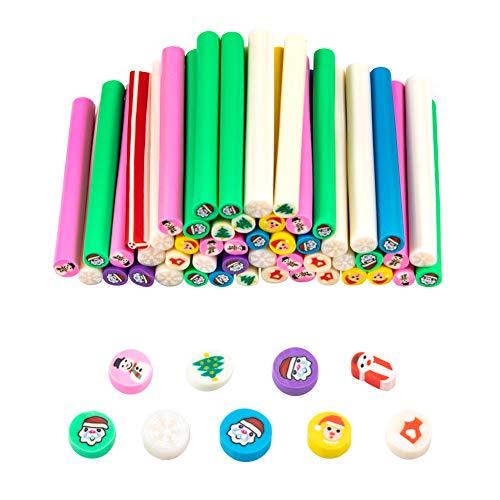 PandaHall 50 piezas de bastones de arcilla de polímero de 2 pulgadas, tema de Navidad 3D para arte de uñas, varillas para manualidades, decoración de teléfonos móviles, colores mezclados (sin agujero) ✅