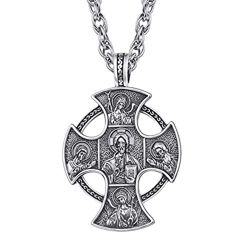 KINGWHYTE Mens Cross Necklace Orthodox Jesus Christ Pantocrator The Archangel St. Michael Necklace for Men Personalizedn Mens Crucifix Cross Necklace Round Medal Sterling Silver