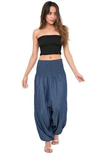 likemary Ali Baba Haremshose 2 in 1 BZW. Einteiler aus Denim - Jumpsuit Overall - Pluderhose mit Bandeau Oberteil - Jeans Blau