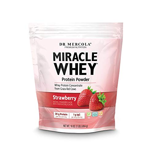 Dr. Mercola Miracle Whey Strawberry 1 lb (16 oz), About 11 Servings, Non GMO, Gluten Free, Soy Free