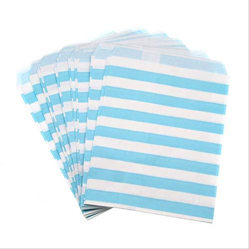 FHFF Papiertüten, 100 Stück, bunte Süßigkeitentüten, gestreift, fettdichtes Papier, für Süßigkeiten, Buffet, Kinder, Geschenk, Hochzeit, 25 Stück, Blau