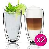 Thermo Glas Doppelwandig Latte Macchiato Cocktail Kaffee Cappuccino Gläser Set