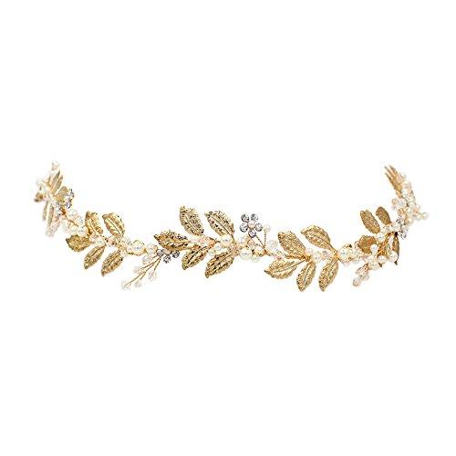 YAZILIND Mode Tiara Kupfer Blätter Perle Strass Braut Stirnband Legierung Frauen Mädchen Haarschmuck für Hochzeitsgesellschaft