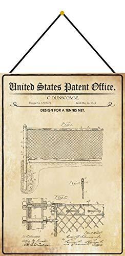 Targa in metallo con design brevettato per una rete di tennis, targa in metallo, bombata, laccata, 20 x 30 cm, con cordoncino.
