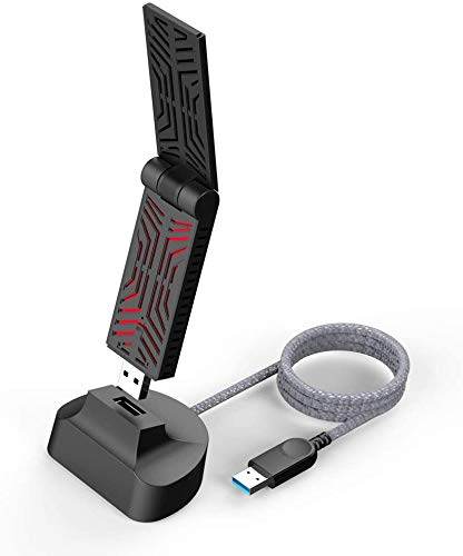 WAVLINK AC1900 - Adaptador de red inalámbrico USB 3.0 (2,4 + 5 Ghz) para PC/escritorio/tableta/ordenador portátil, 802.11ac WiFi Dongle compatible con Windows XP/Vista/7/8/8.1/10 y MAC OS