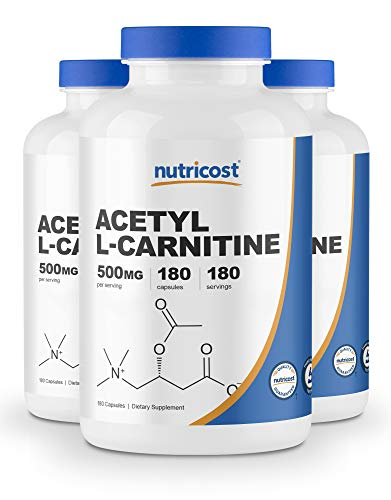 Nutricost Acetyl L-Carnitine 500mg, 180 Capsules (3 Bottles) - Non-GMO and Gluten Free