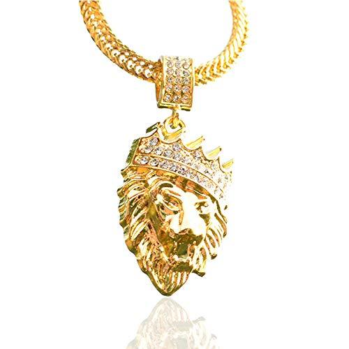 DTKJ Collar de Hip-Hop con Cabeza de león y Corona de Diamantes incrustados. Colgante de Hiphop Chapado en Oro Neutro para Hombre.