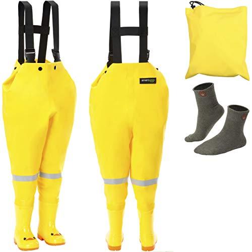 smartpeas wasserdichte Wathose für Kinder mit Gummi-Stiefel gelb Größe 20/21 – ideale Anglerhose/Watthose für Kinder +Plus: 1x Socken