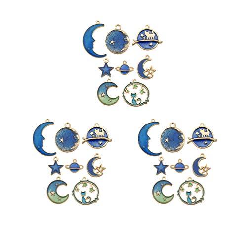 Healifty 24 piezas pendientes de luna estrella planeta tierra pendientes colgantes para mujeres niñas